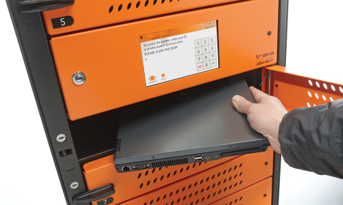Smart device cabinet with RFID