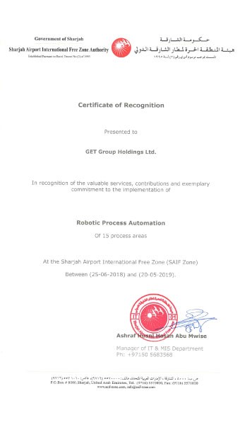 GET Group Receives Certificate of Recognition from Sharjah's SAIF Zone